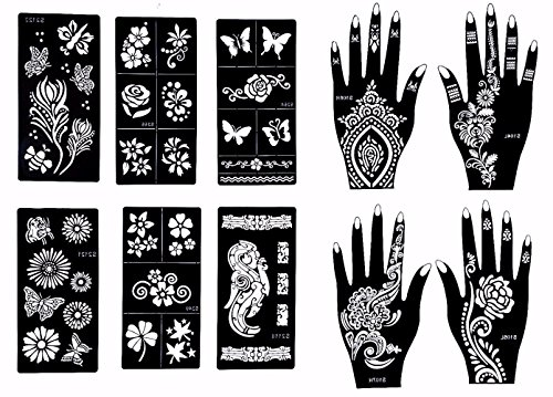 Stencils for Henna Tattoos (10 Sheets) Self-Adhesive Beautiful Body Art Temporary Tattoo Templates, Henna, Flower, Butterfly Designs by Gilded Girl
