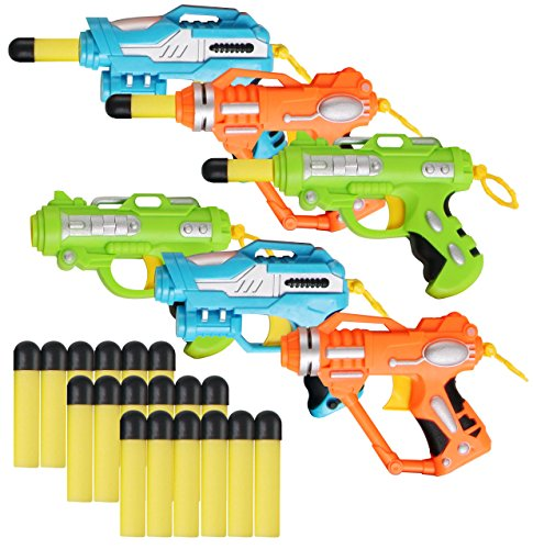Liberty Imports Mini Foam Dart Blasters Multi Pack Party Favors (Set of 6) (Nerf Guns For Toddlers)