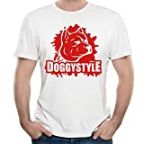 NOAC Men's A Cute Dog And Doggy Style T-shirt White
