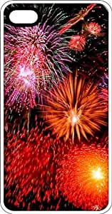 July 4th Fireworks White Rubber Case for Apple iPhone 4 or iPhone 4s