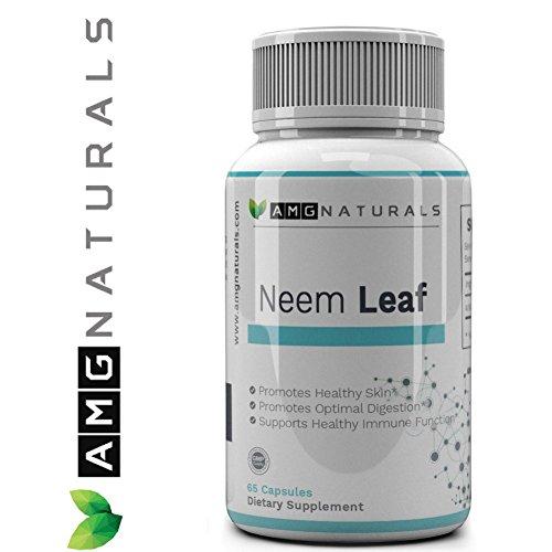 Neem Leaf Capsules aka Azadirachta Indica - Melia Azadirachta 100% Neem Leaf Without Binders/Fillers For Maximum Skin & Gut Health 65 Indian Lilac Capsules