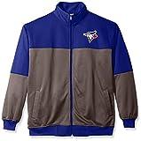 MLB Toronto Blue Jays Men's Poly Fleece Yoked Track Jacket with Wordmark Logo, 5X, Royal/Gray