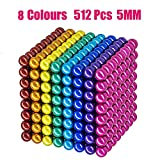 Coolpay 8 Colors 512 Pcs 5MM Big Magnets DIY Toys Magnetic Fidget Blocks Building Blocks for Development of Intelligence Learning and Stress Relief Gift for Adults or Kids