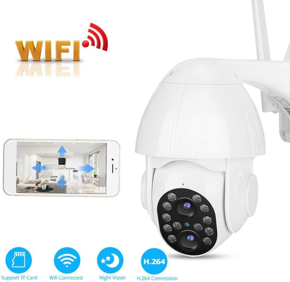 Cámara WiFi de seguridad al aire libre, cámara CCTV WiFi de visión nocturna binocular a todo color de 3MP para seguridad del hogar, cámara de vigilancia de domo, ONVIF2.4, para Haikang para Dahua(EU)