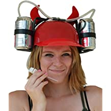 Fairly Odd Novelties Beer Soda Guzzler Helmet Drinking with Devil Horns Party Hat, Red