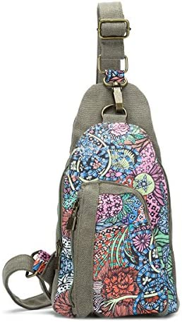 Women and Ladies Canvas Inclined'shoulder bag chest pack chest bag outdoor