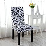 White + Black : Floral Chair Cover Washable Slipcover Wedding Banquet Party Decors (White + Black)
