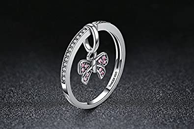 Amazon.com: Dixey Luxury Anillos de Plata 925-Sterling-Silver-Pink-Bow-Knot-Finger-Rings-for-Women (6) RI0031: Jewelry