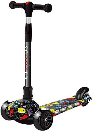 Kids Graffiti Doodle Kick Push Scooter 3 Wheels LED Flashing Boy Girls Xmas Gift
