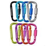 Carabiner Keychain,Hook Clip Aluminum D-ring Locking Flat D-Shape Lock Snap Backpack Water Bottle Climbing Gear Accessories EDC Camping Tent Multi Function Tool Multiple Colors