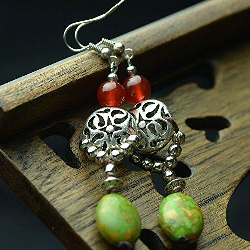 usongs Chinese style retro national wind Miao silver earrings turquoise earrings agate jewelry earrings women girls ()