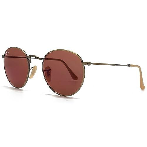 Ray-Ban occhiali da sole in metallo spazzolato Bronzo Specchio rosso rotondi RB3447 167/2K 50