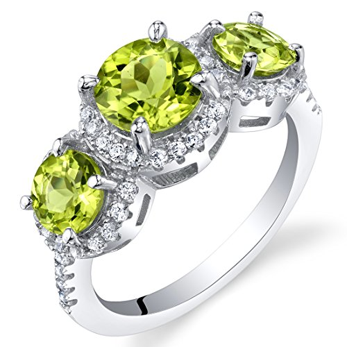 Peridot Sterling Silver 3 Stone Halo Ring Size 9