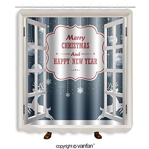 Vanfan designed Windows 333517985 Christmas background with text Shower Curtains,Waterproof Mildew-Resistant Fabric Shower Curtain For Bathroom Decoration Decor With Shower - Palm Spring Near Outlet