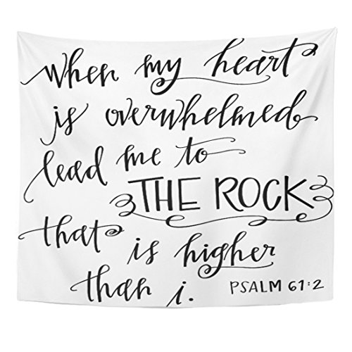 Christian Tapestry Wall Hangings - Emvency Tapestry Verse My Rock Bible Christian Quote Scripture Heart Home Decor Wall Hanging for Living Room Bedroom Dorm 50x60 Inches