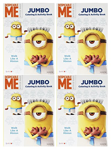Set of 4 Despicable Me Minion Made Jumbo Coloring & Activity Book! Walk Like a Minion - 96 Pages - Tear and Share Pages - Coloring and Activity Book Perfect for any Minion Fan! - Graham Cracker Halloween Costume