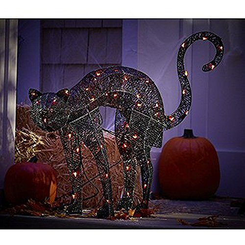 32″ Light Up the Night Lighted & Animated Black Cat Halloween Decoration