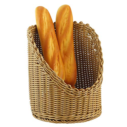 (Poly-Wicker Woven Bread Basket Tabletop Food Fruit Vegetables Serving Basketl,Attractive Table Setting for Holiday Dining(Honey Brown))