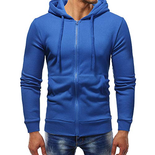 - GOVOW Sweatshirts for Men Zipper Hoodie Autumn Winter Long Sleeve Casual Pullover Outwear Tops(L,Blue)
