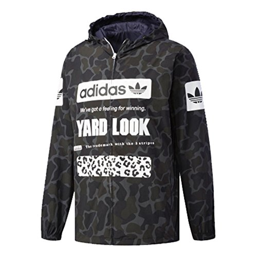 Adidas Reversible Jacket (Adidas Mens Originals Lightweight Graphic Reversible Windbreaker Jacket Cd1714 - Multicolor/2XL)
