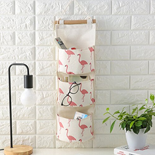 Myhouse Wall Door Hanging Storage Bag 3 Bags Flamingo Pattern Storage (Flamingo Wall Hanging)