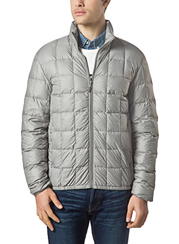 XPOSURZONE Men Packable Down Quilted Puffer Jacket Lightweight Puffer Coat SH.Ash Melange L