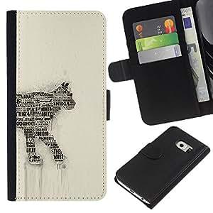 Be-Star la tarjeta de Cr¨¦dito Slots PU Funda de cuero Monedero caso cubierta de piel Para Samsung Galaxy S6 EDGE (NOT S6) ( Numero 35 Art India Feline )