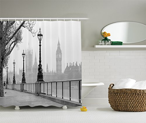 Ambesonne London Decor Collection, View of Big Ben from the Walking Way by the Thames River with Street Lights under Rain Picture, Polyester Fabric Bathroom Shower Curtain, 75 Inches Long, Grey