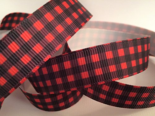 Printed Grosgrain Ribbon 5/8 Inch Red & Black Checks - 10 Yards Use For Bows and Crafts