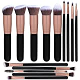 PROFESSIONAL Make Up Brush Set 14 Piece, B2B, Cruelty Free, Best Quality, Synthetic Fiber Bristles, Kabuki, Foundation, Concealer, Powder and Blending, Eyebrow and Eye Shadow, Black and Rose Gold.