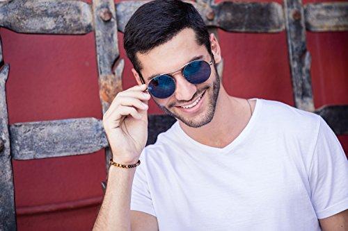 Rétro Léo Miroitant Sunglasses Noir Argenté Lunettes Cheapass Marron Rondes Ca 018 n6HqfI0