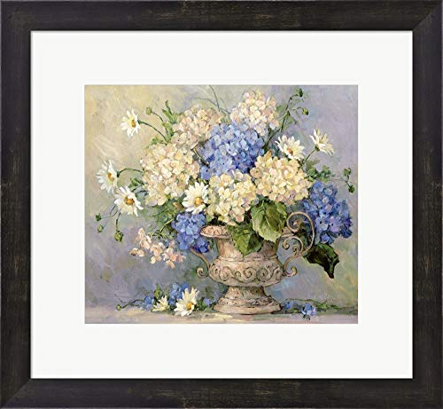 (Blue and White Delight by Barbara Mock Framed Art Print Wall Picture, Espresso Brown Frame, 18 x 17 inches)