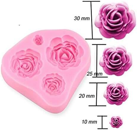 4 Size Roses Flower Silicone Cake Mold Chocolate Sugarcraft Decorating Fondant Fimo Tool