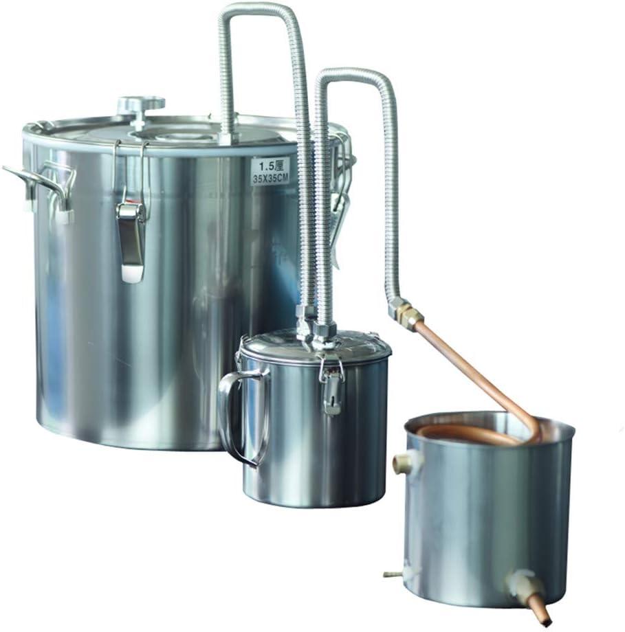 8 Gal 33L Alcohol Distiller Moonshine Still Copper Tube Still Kits Boiler Home Brewing Kit with Thumper Keg Stainless Steel (8 Gal / 33L)