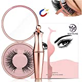 SIGHTLING Magnetic Eyeliner With 3D Magnetic Eyelashes & Tweezers, Black Waterproof Magnetic Eyeliner For Use With Magnetic False Lashes (Diamond-5)