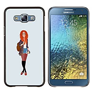 Dragon Case - FOR Samsung Galaxy E7 E7000 - redhead smart hipster feminist education - Caja protectora de pl??stico duro de la cubierta Dise?¡Ào Slim Fit