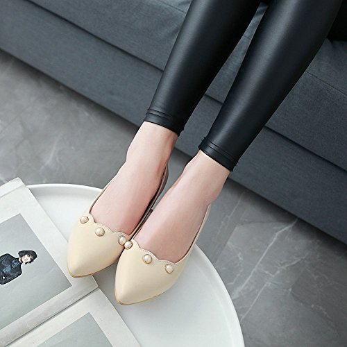 MissSaSa Damen Blockabsatz Pointed Toe Leder-Pumps Beige