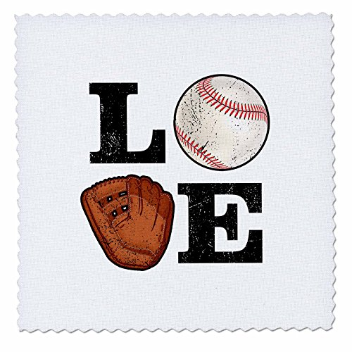 3dRose Carsten Reisinger - Illustrations - Love Baseball Design for Players, Coaches, Moms and Dads - 8x8 inch Quilt Square (qs_282640_3)