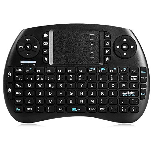 KSPARK Rechargable Mini Wireless Keyboard with Touchpad Mouse Remote for for Android TV Box HTPC PS3 XBOX360 Smart Phone Tablet Mac Linux Windows OS Black