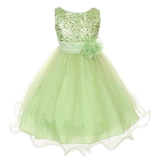695338de250 Flower Girls Dress Sequin Glitter Beaded Dress Wedding Prom Bridesmaid Lime  Green Baby Size S-