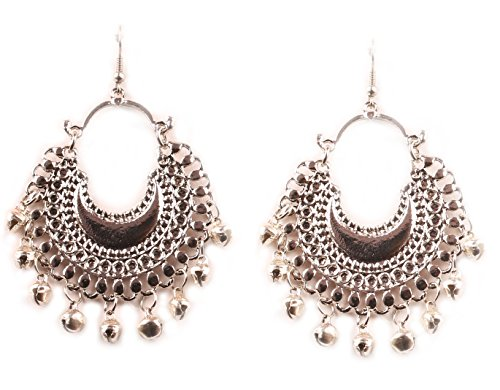 Touchstone Traditional Tribal Gypsy indian Jewelry-Afghani Bohemian Chaand Baali Moon Theme Designer Chandelier Earrings For Women In Oxidized Silver - In India Women