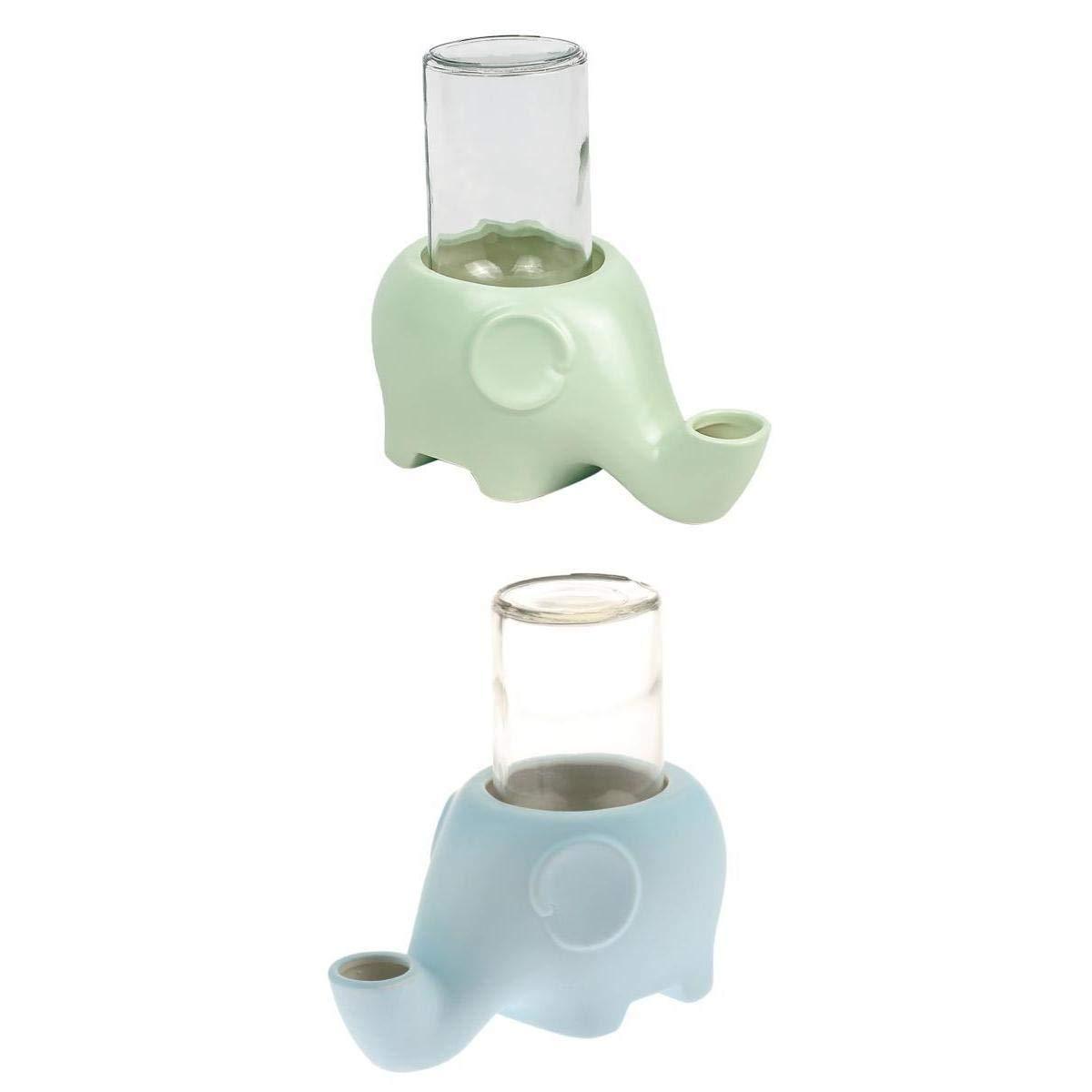 joyMerit 2 x Ceramic Antiskid Design Elephant Shape Pet Water Feeders Drinking Bottle, Portable Dog Cats Wall Hanging Feeder Portable Pet Supplies by joyMerit