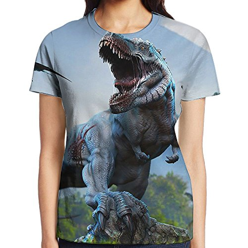 Dinosaur's Howling Women Classic Short Sleeve T-Shirts Graphic Crew Neck Tops