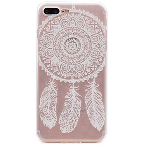 "Coque iPhone 7 Plus, IJIA Ultra-mince Transparent Carillons à Vent Dreamcatcher TPU Doux Silicone Bumper Case Cover Shell Housse Etui pour Apple iPhone 7 Plus (5.5"") + 24K Or Autocollant"