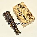 Handheld Brass Telescope With Wooden Box Nautical Pirate Scope