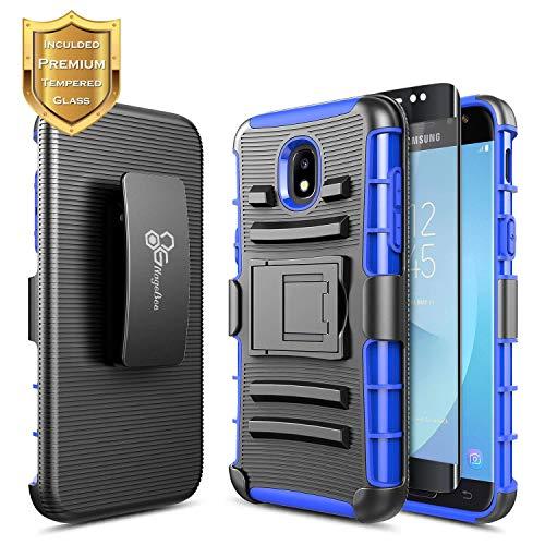 Galaxy J7 Crown Case, J7 Refine/J7 Star/J7 Aura/J7 TOP/J7 V 2nd Gen w/[Tempered Glass Screen Protector], NageBee Belt Clip Holster Heavy Duty Shockproof Kickstand Combo Case for Samsung J7 2018 -Blue