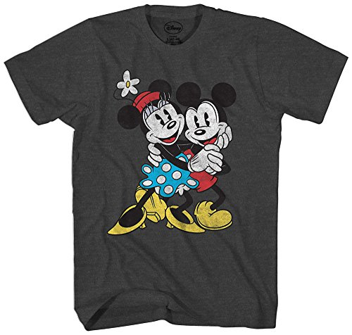 Disney Mickey & Minnie Mouse Old School Love Vintage Classic Retro Adult Men's Graphic Tee T-Shirt (Love Black 3x T-shirt)