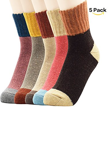 Zando Athletic Retro Warm Soft Wool Crew Socks for Women Winter Autumn Cotton Knit Thick Print Cabin Socks 5 Pack 5 Pack - Patchwork Color2 Shoe Size (Costume Ideas For Short People)