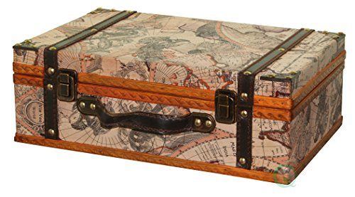 Vintiquewise(TM) Old World Map Suitcase/Decorative Box (Vintage Small Suitcase compare prices)