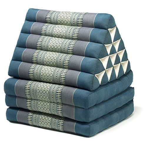 Thai style Triangle Yoga and Relaxation Lounger floor cushion Aqua by Lucy & Co.
